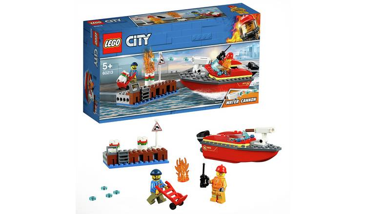 LEGO City Fire Dock Side Fire Toy Boat Playset - 60213