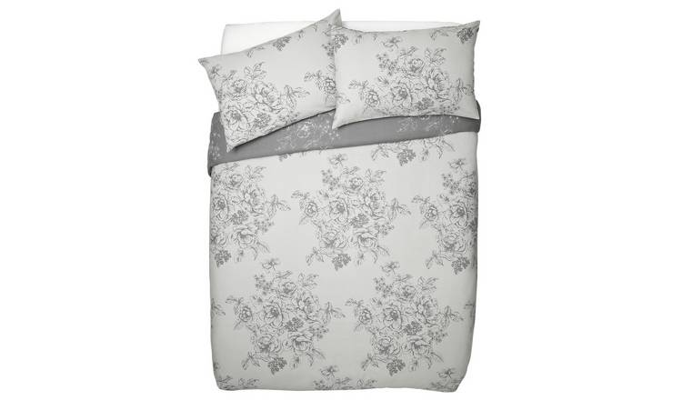 Argos Home Grey Classic Floral Bedding Set - Double