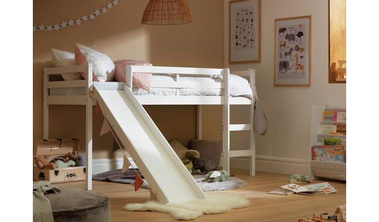 Argos Home Kaycie Midsleeper, Slide & Kids Mattress - White