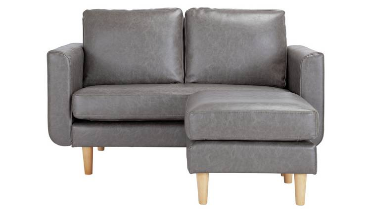 Buy Argos Home Remi 2 Seater Faux Leather Chaise in a Box - Grey ...