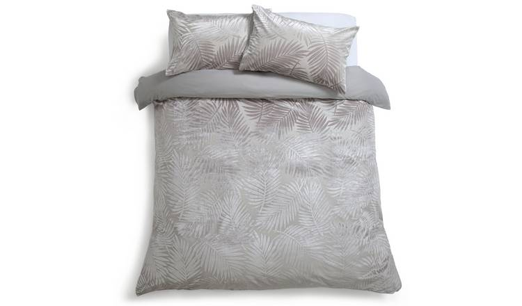 Habitat Velvet Feather Grey Bedding Set - Kingsize