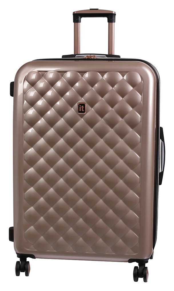 it Luggage Large Expandable 8 Wheel Hard Suitcase Rose Gold