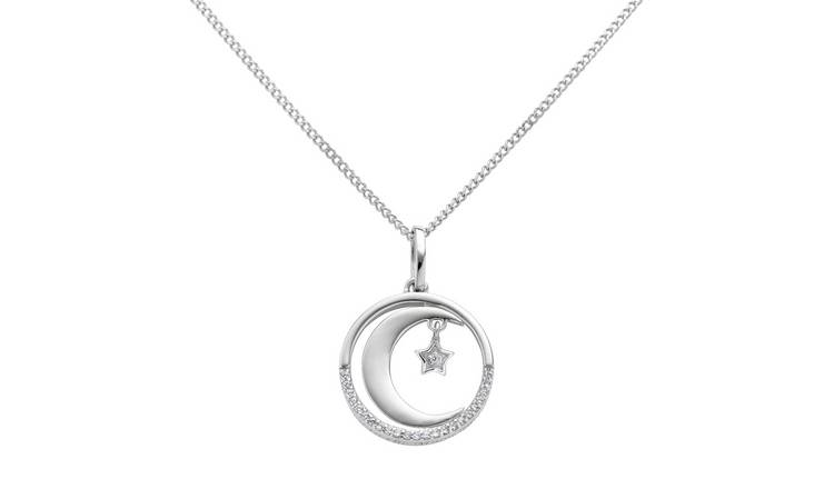 Moon & Back Sterling Silver Moon & Star Pendant