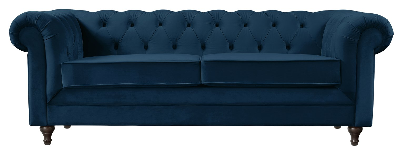 Habitat Chesterfield 3 Seater Velvet Sofa - Blue