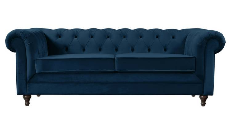 Argos Home Chesterfield 3 Seater Velvet Sofa - Blue