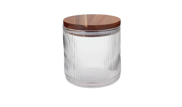 Argos Home Glass Ribbed Small Canister