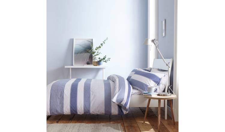 Catherine Lansfield Blue Newquay Stripe Bedding Set - Single