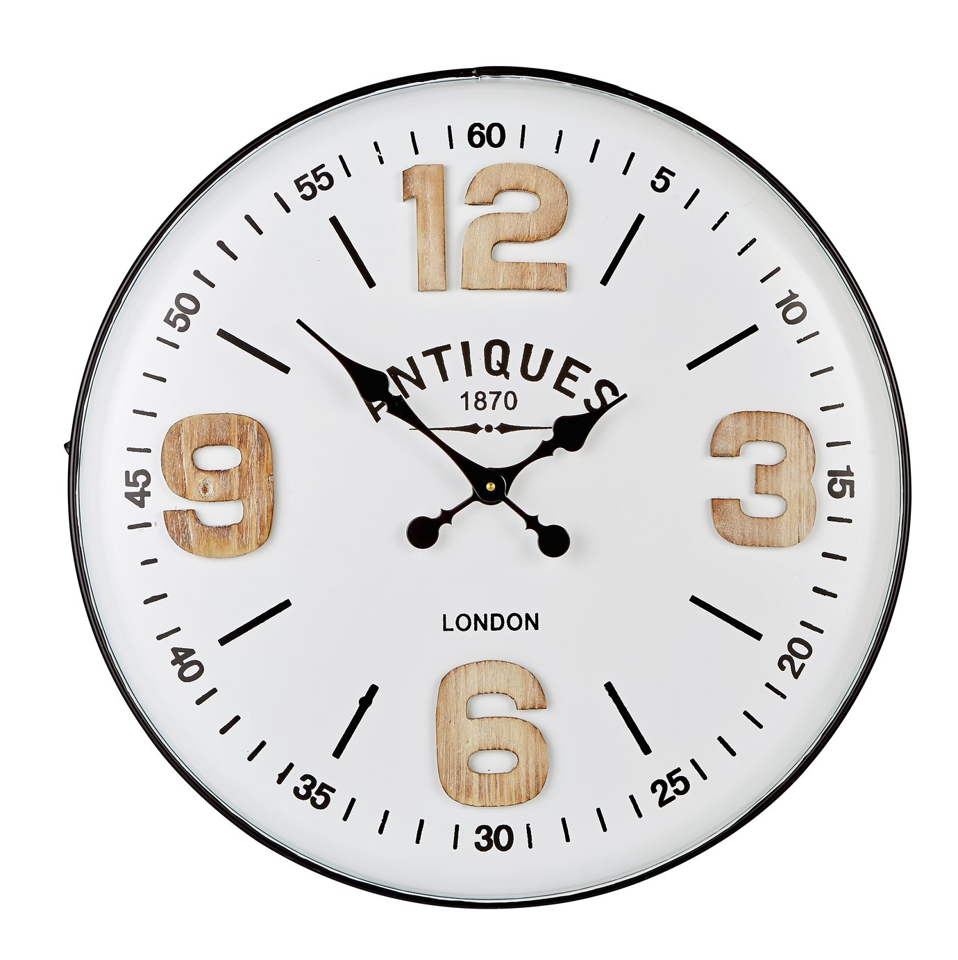 Hometime Large Quarter Numbers Wall Clock - White