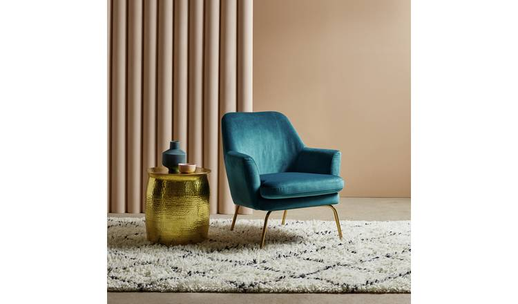 Buy Habitat Celine Velvet Accent Chair - Blue  Armchairs  Habitat