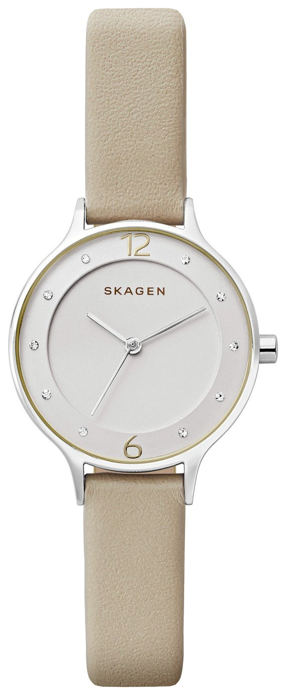 Skagen White Dial Ladies Leather Strap Watch