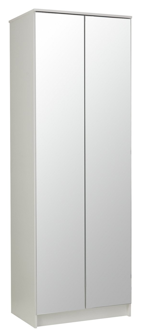 Argos Home Cheval Gloss 2 Door Mirrored Wardrobe - White