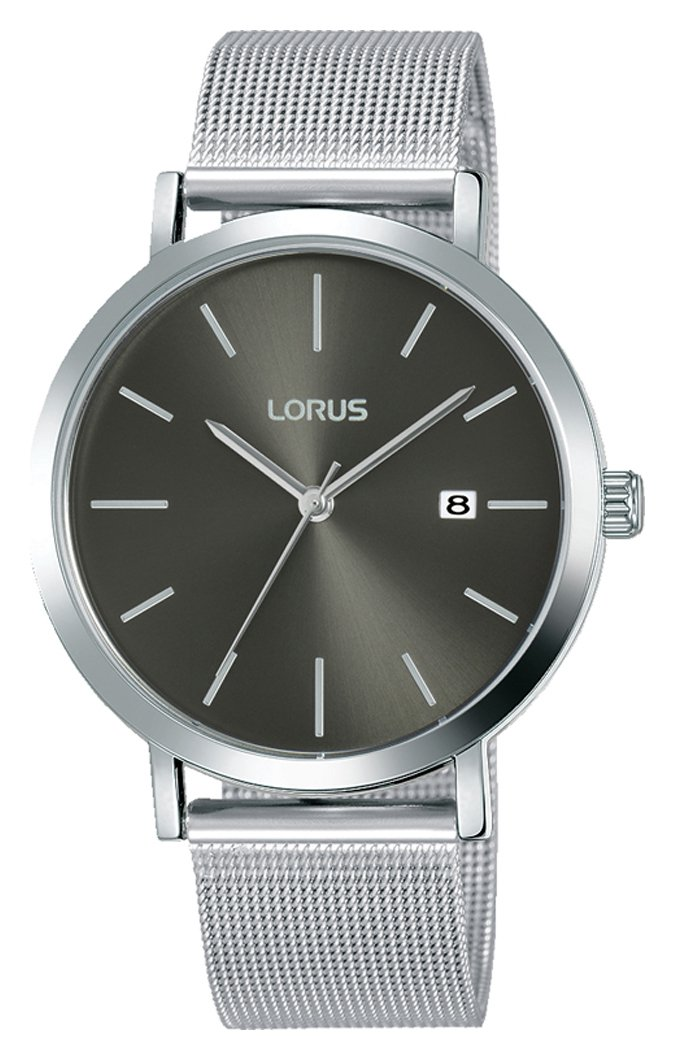 Lorus Black Dial Mens Stainless Steel Watch