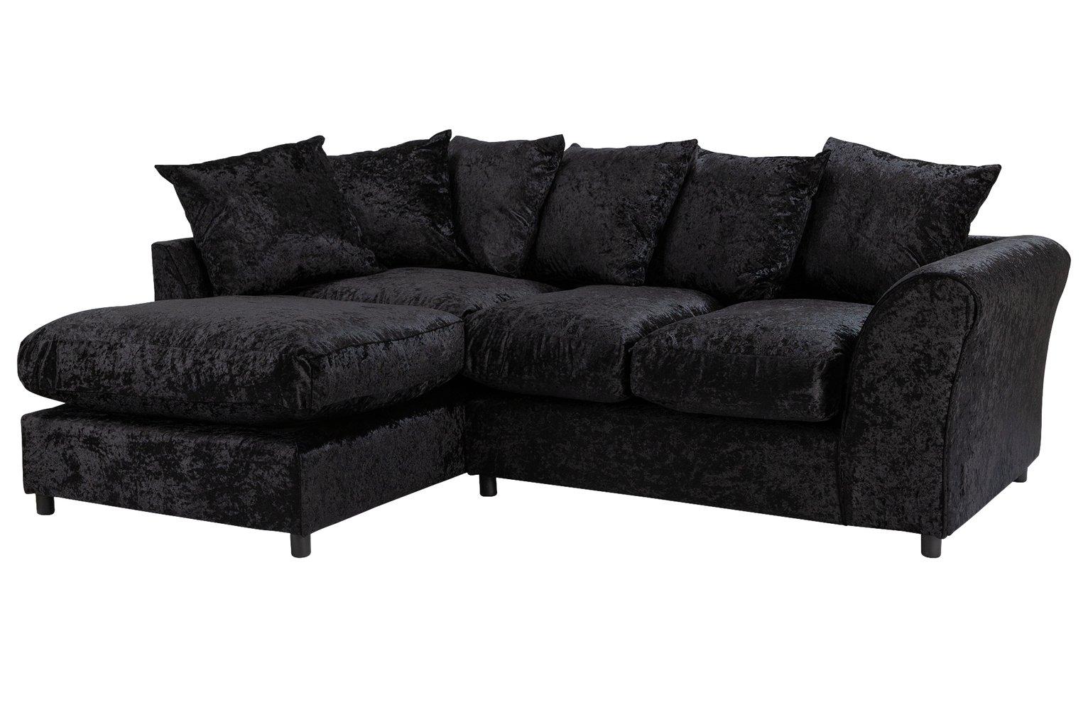 Argos Home Megan Left Corner Fabric Sofa - Black