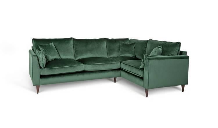 Buy Argos Home Hector Right Corner Velvet Sofa Green Sofas Argos