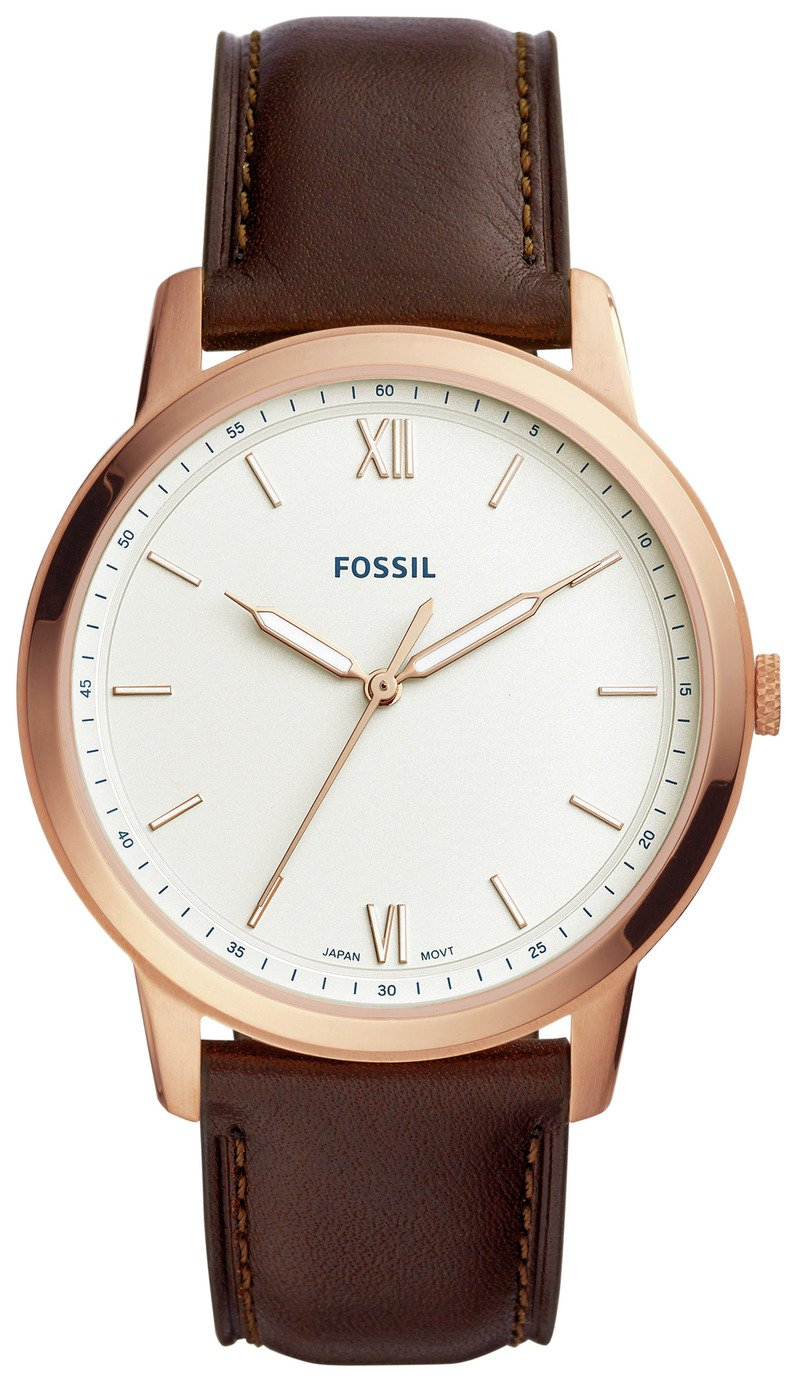 Fossil Minimalist Men's Brown Leather Strap Watch