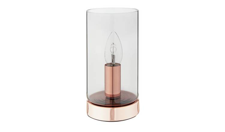 Argos Home Smokey Glass Table Lamp - Rose Gold