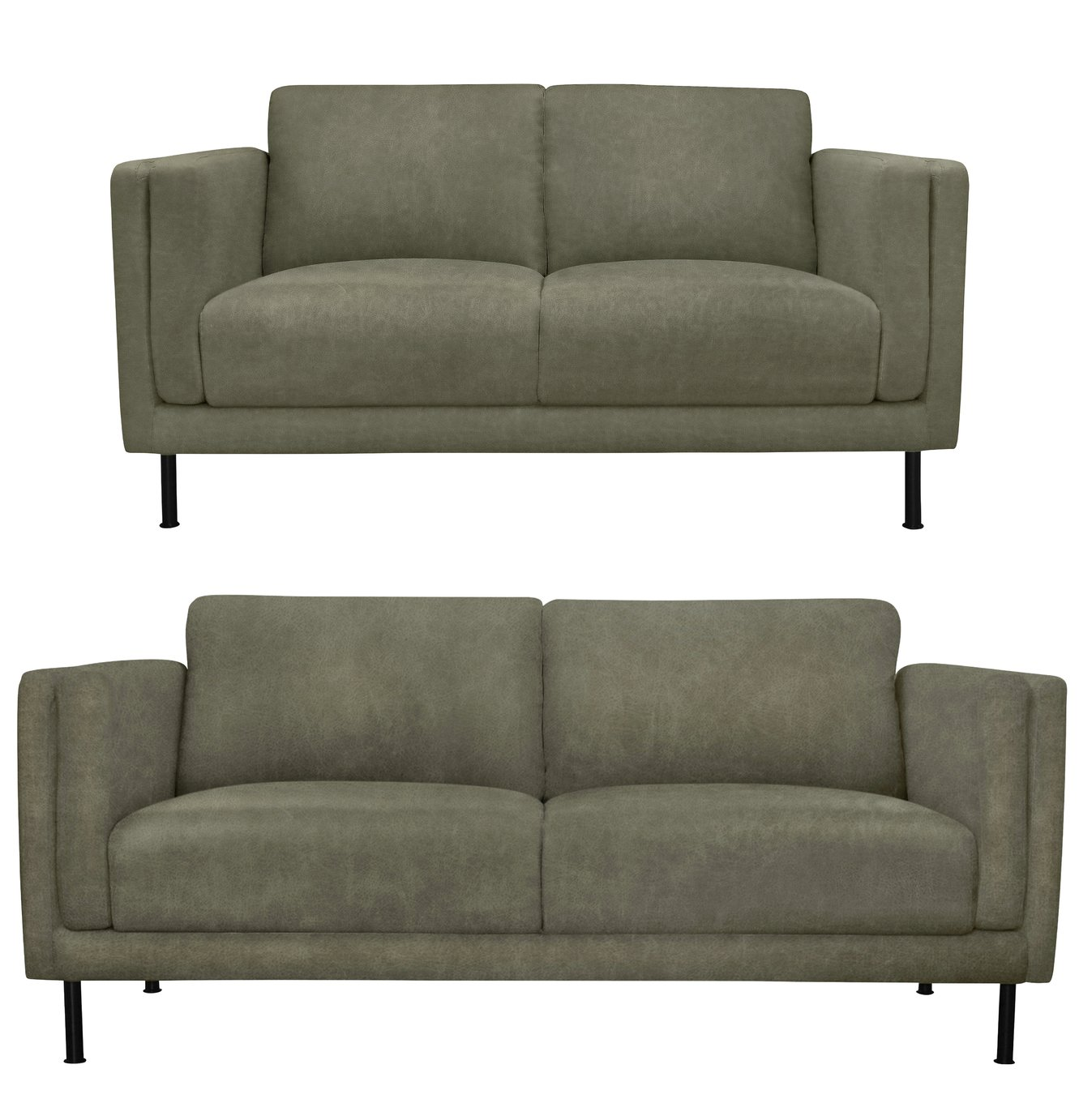 Argos Home Hugo Faux Leather 2 Seater & 3 Seater Sofa - Grey
