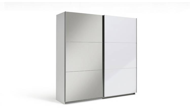 Habitat Holsted Extra Large White Gloss & Mirror Wardrobe