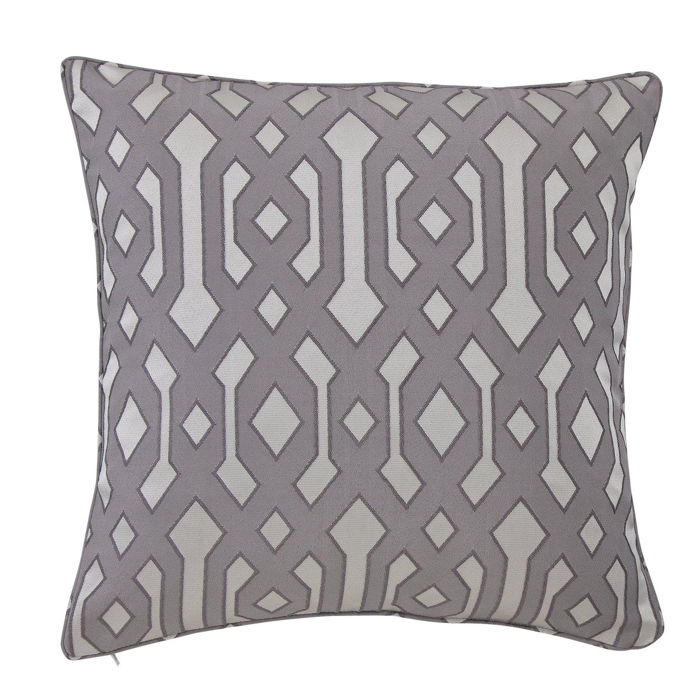 Argos Home Geometric Jacquard Cushion - Flint Grey