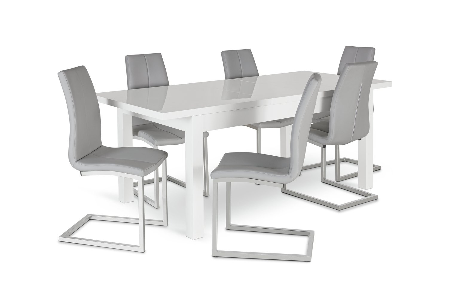 Argos Home Lyssa Extending XL Gloss Table & 6 Chairs - Grey