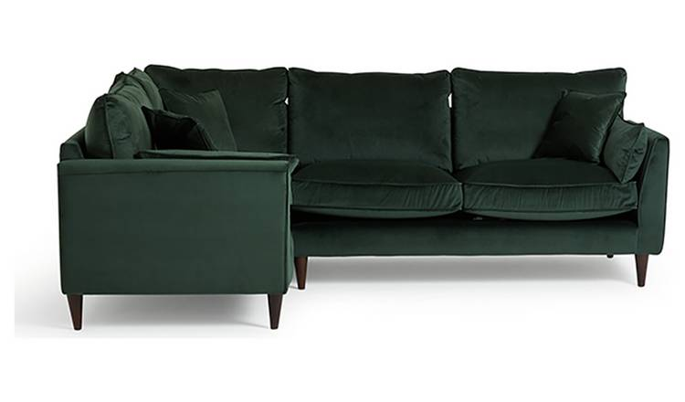 Argos Home Hector Left Corner Velvet Sofa - Green