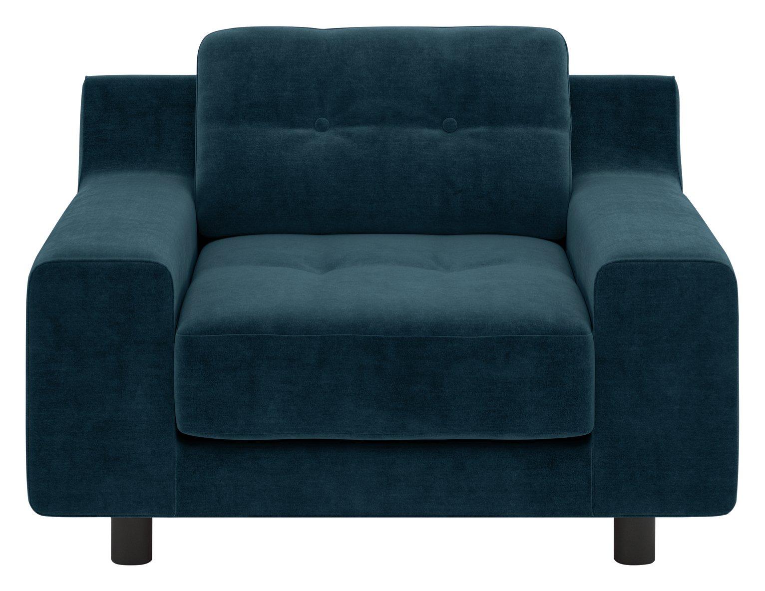 Habitat Hendricks Ink Blue Velvet Armchair