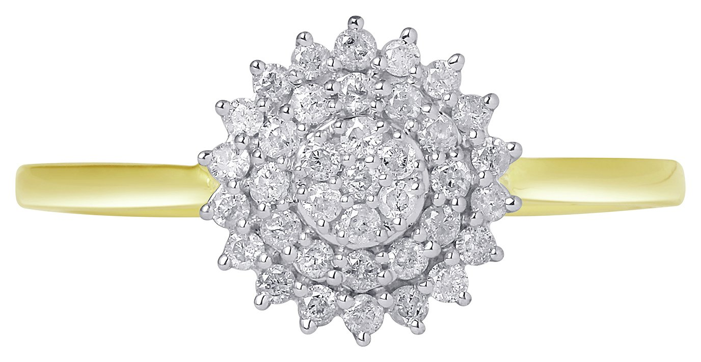 Revere 9ct Yellow Gold Diamond Cluster Ring