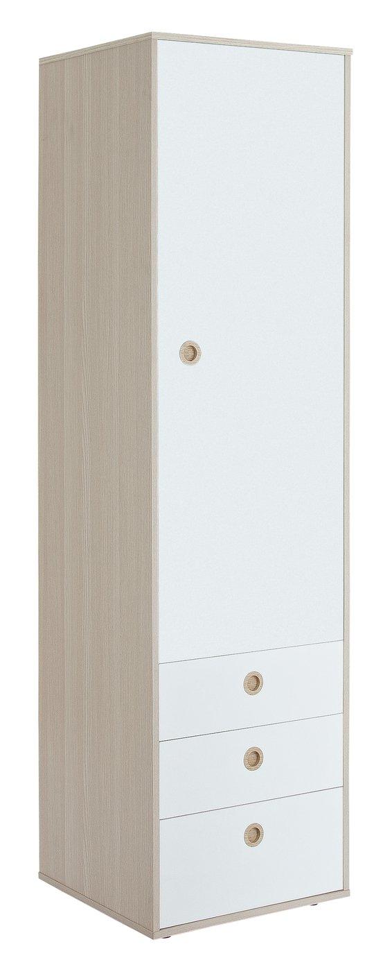 Argos Home Camden 1 Door 3 Drawer Wardrobe - White & Acacia