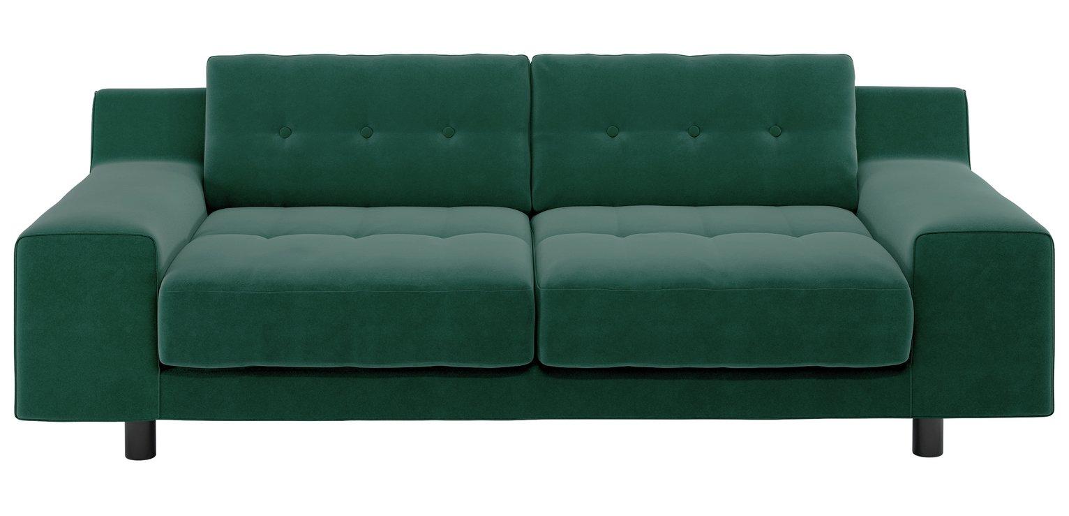 Habitat Hendricks 3 Seater Velvet Sofa - Emerald Green