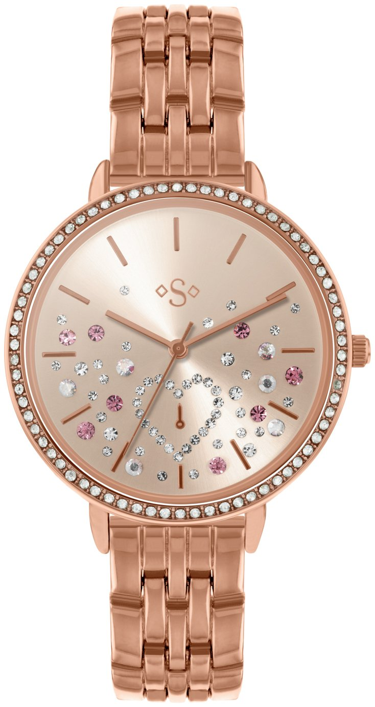 Spirit Stone Set Dial Ladies Rose Gold Coloured Strap Watch