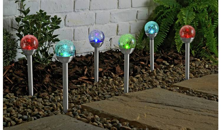Argos Home Set of 6 Crackle Glass Colour Change Solar Lights