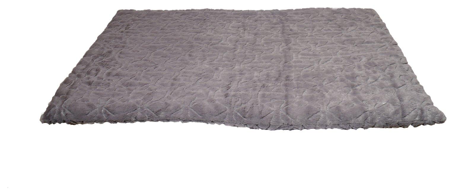 Rosewood Bone Patterned Plush Mattress Pet Bed - Medium