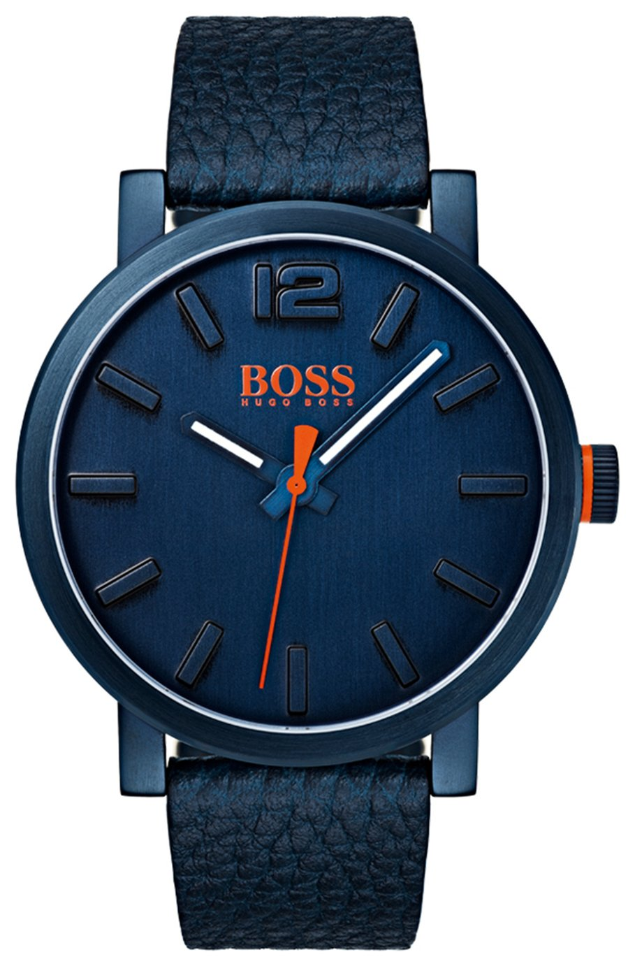 Boss Orange Blue Dial Leather Strap Watch