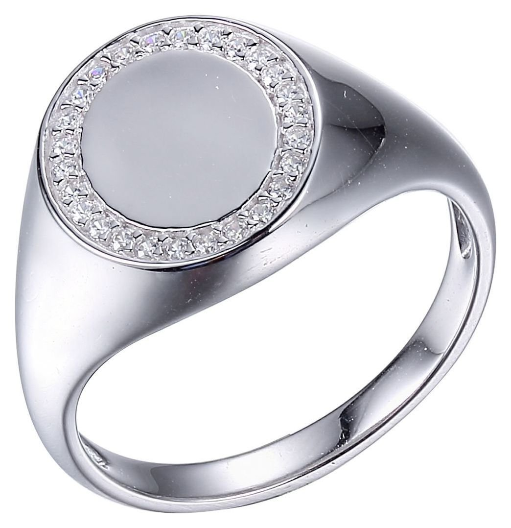 Revere White Cubic Zirconia Silver Signet Ring