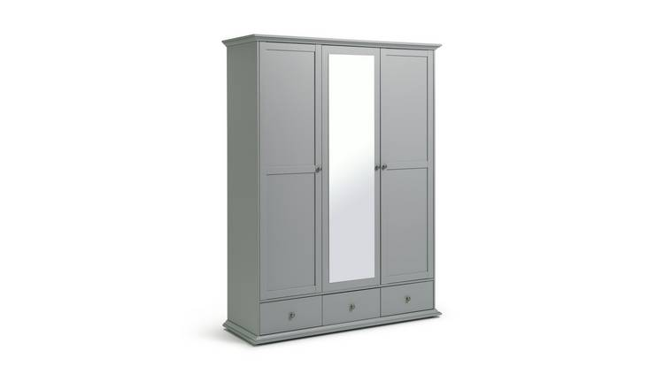 Habitat Heathland 3 Door 3 Drawer Mirror Wardrobe - Grey