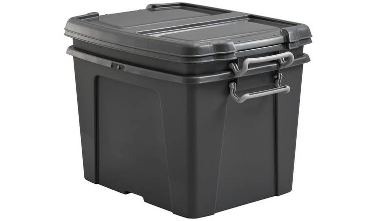 Strata 40L Lidded Recycled Plastic Storage Boxes - Set of 2