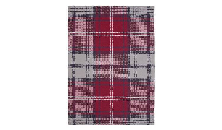 Argos Home Wool Check Rug - 120x160cm - Red