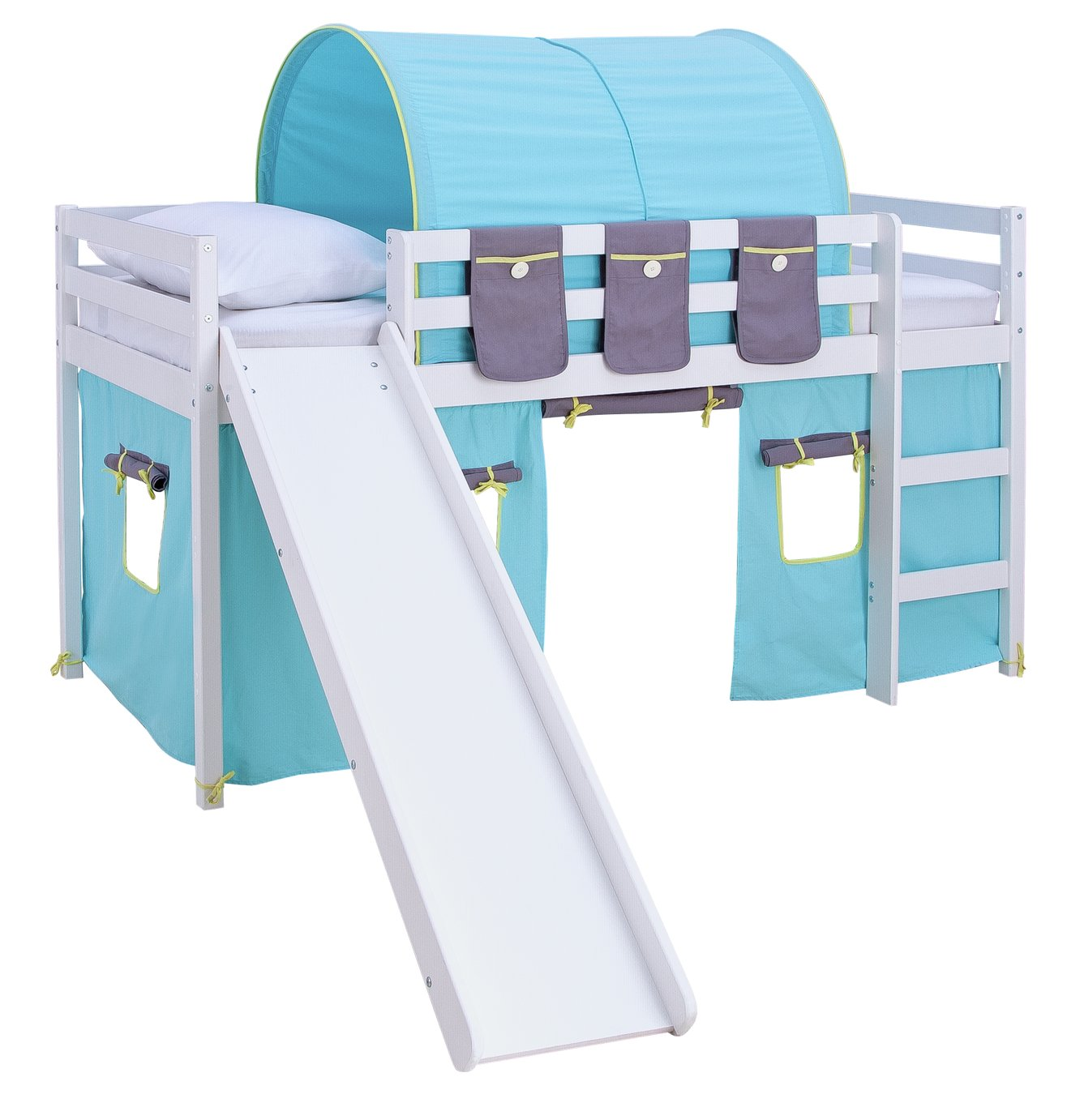 Argos Home Kaycie White Midsleeper,Slide,Turq Tent& Mattress
