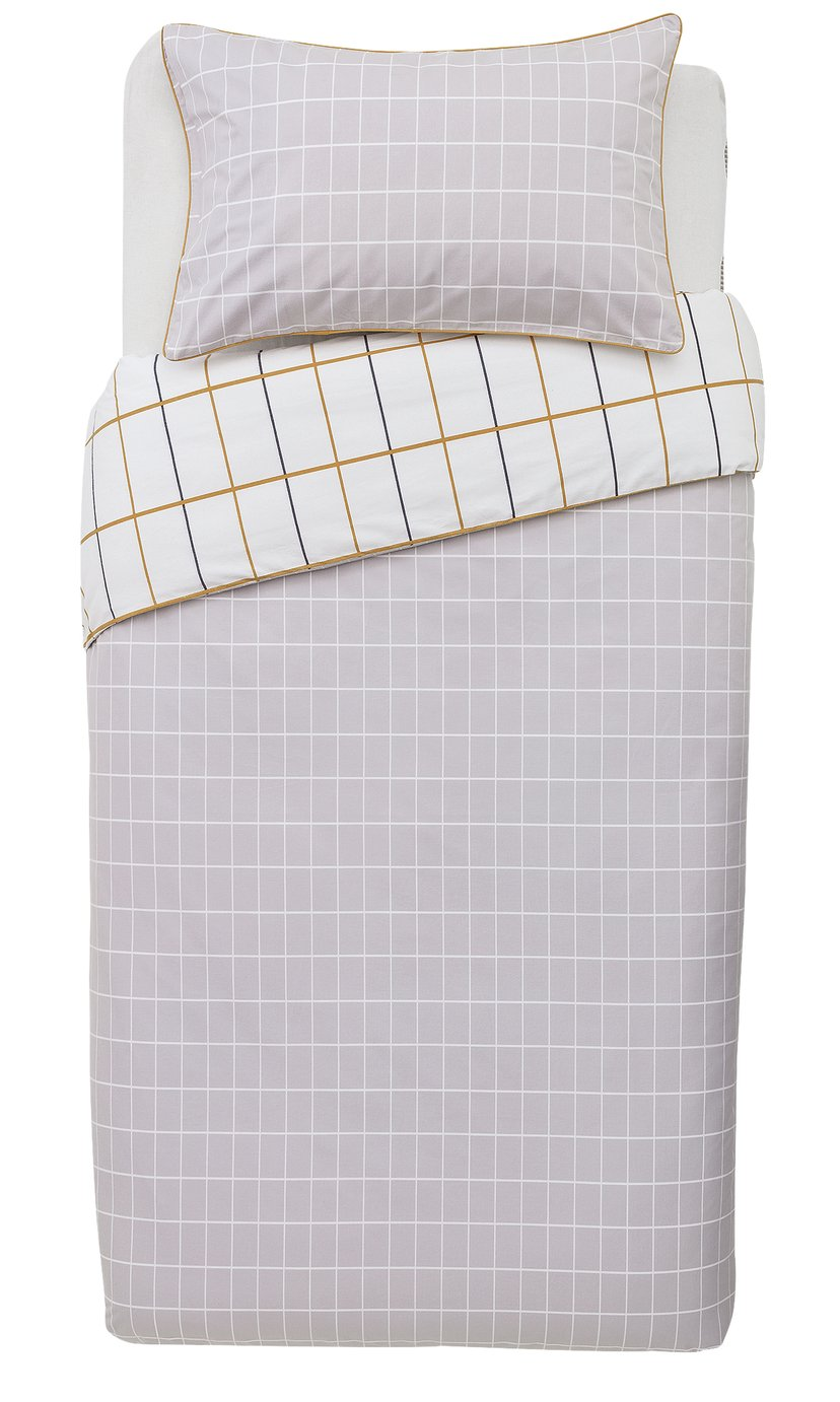 Argos Home Mustard & Grey Checked Bedding Set - Single