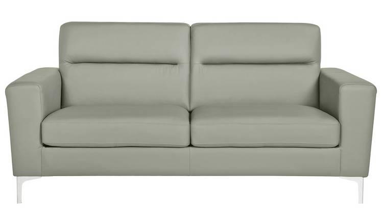 Buy Argos Home Campbell 3 Seater Leather Sofa - Light Grey   Sofas   Argos