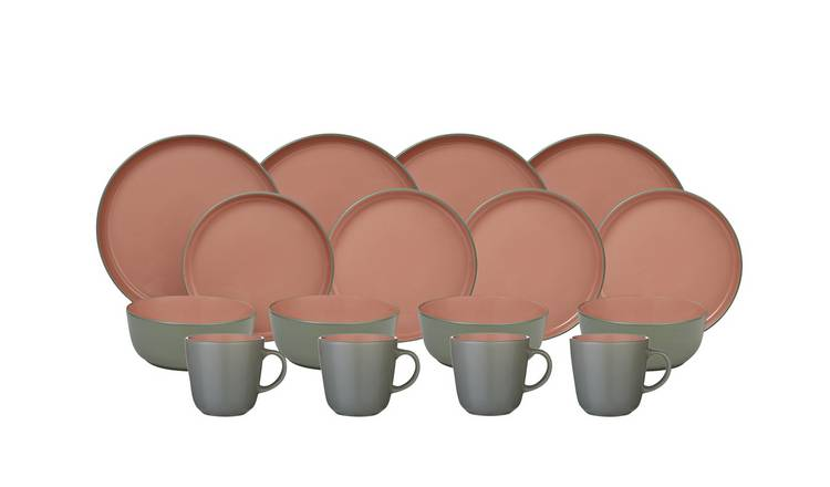 Argos Home Two Tone 16 Piece Dinner Set - Pink & Grey