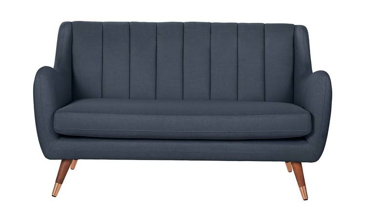Argos Home Leila 2 Seater Fabric Sofa - Dark Blue