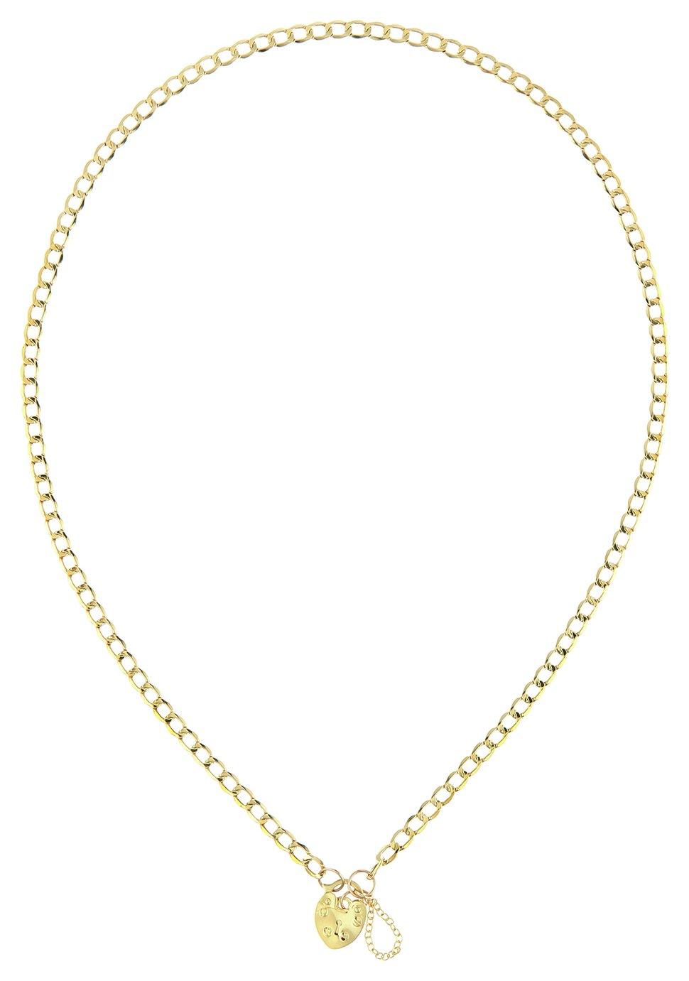 Revere 9ct Gold Heart Padlock Pendant Necklace