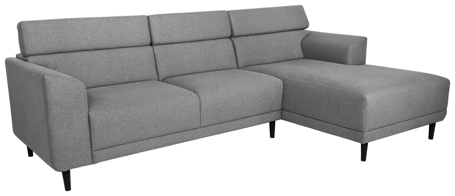 Argos Home Jonas Right Corner Fabric Sofa - Light Grey