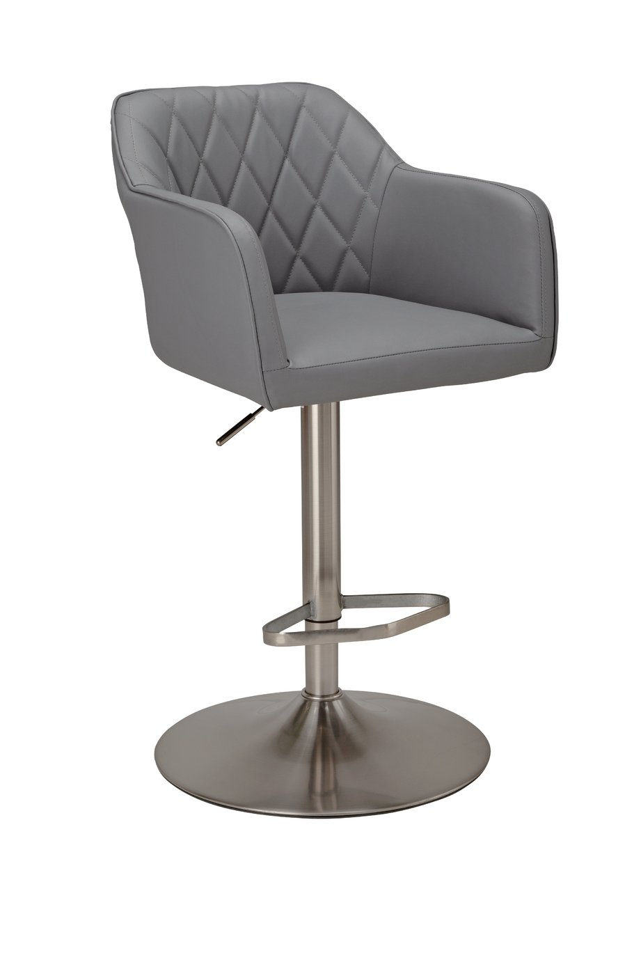 Argos Home Ellington Quilted Faux Leather Bar Stool - Grey