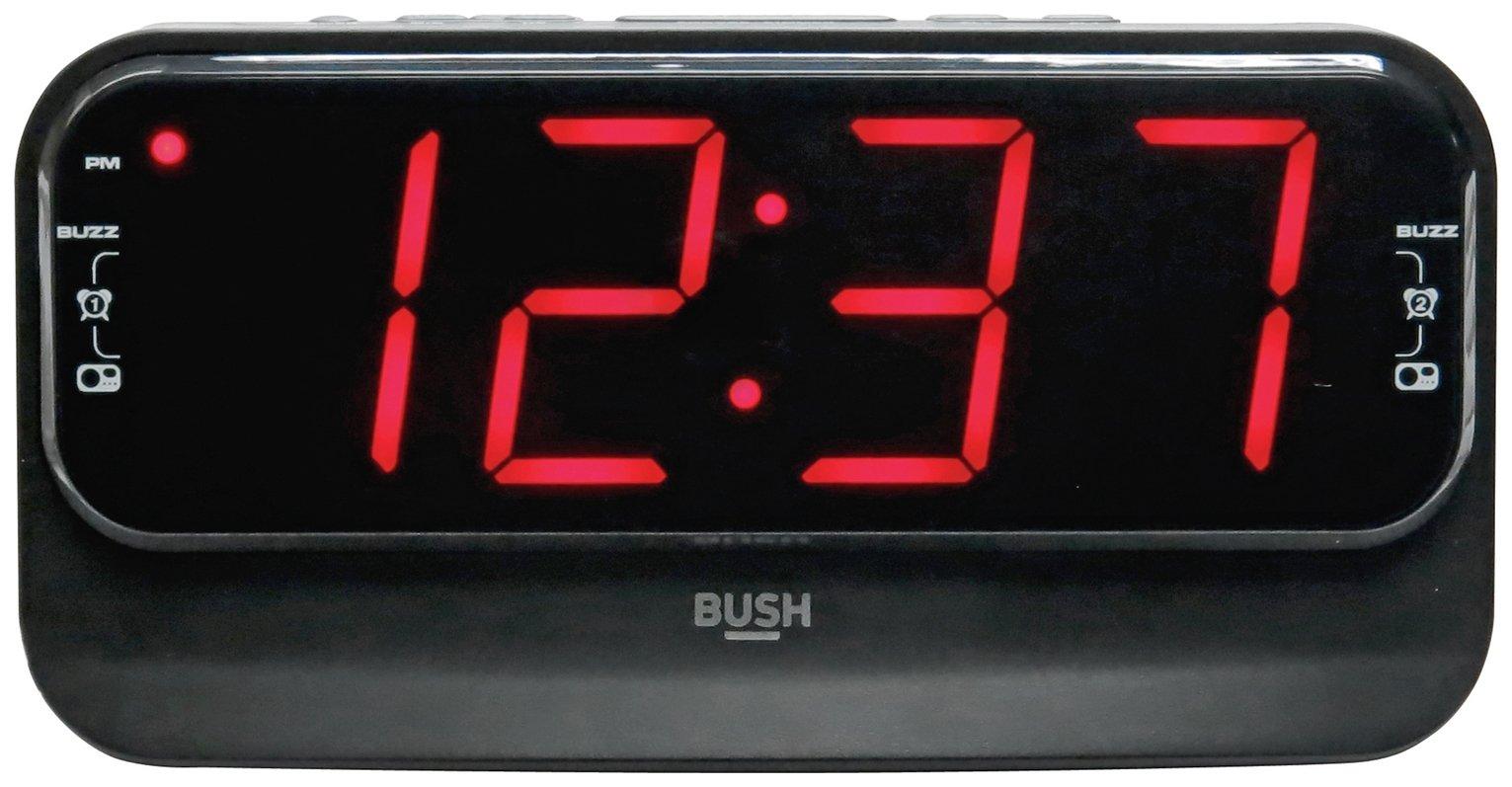 Bush Big LED Alarm Clock Radio - Black