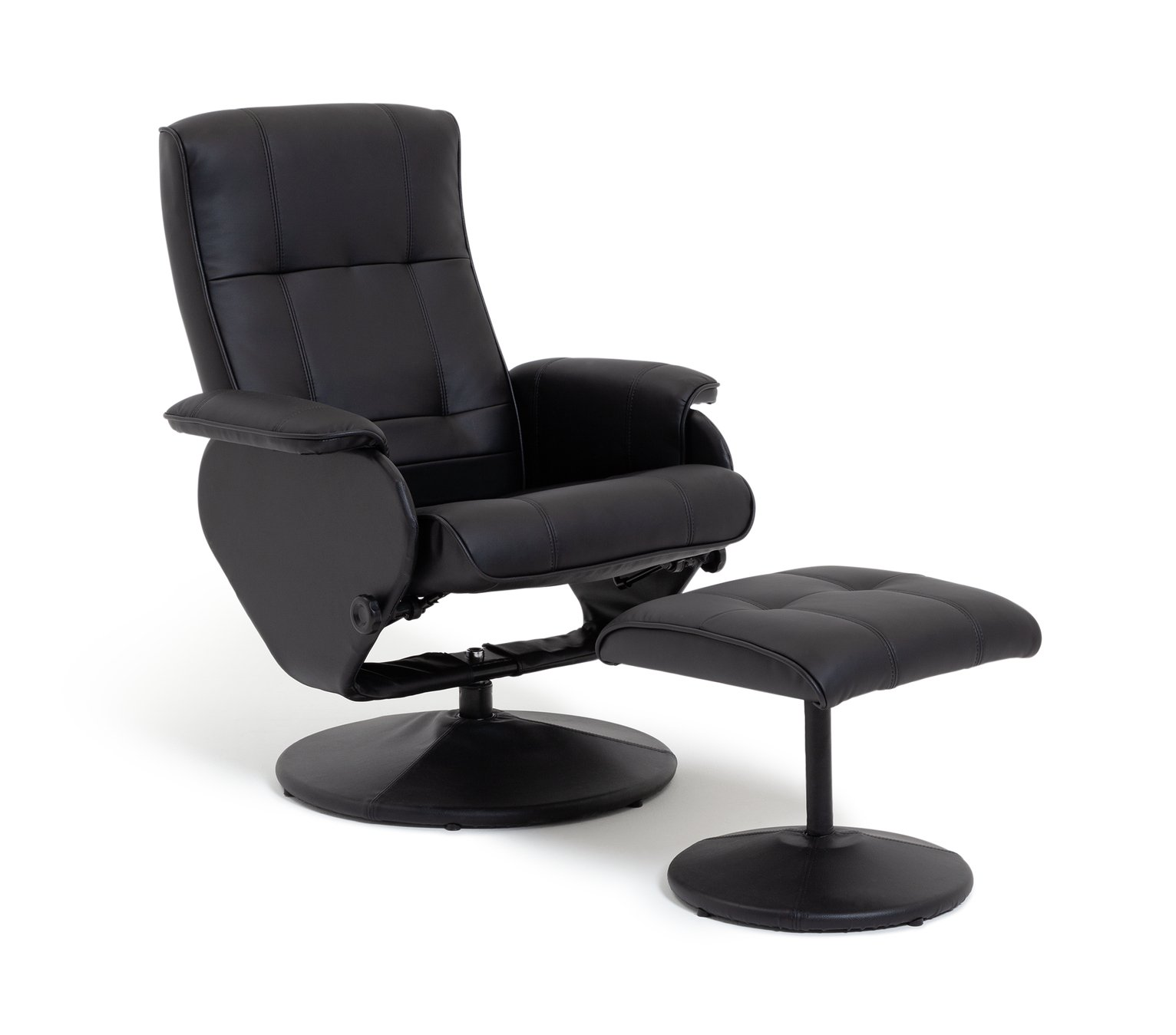 Argos Home Rowan Faux Leather Swivel Chair & Footstool Black