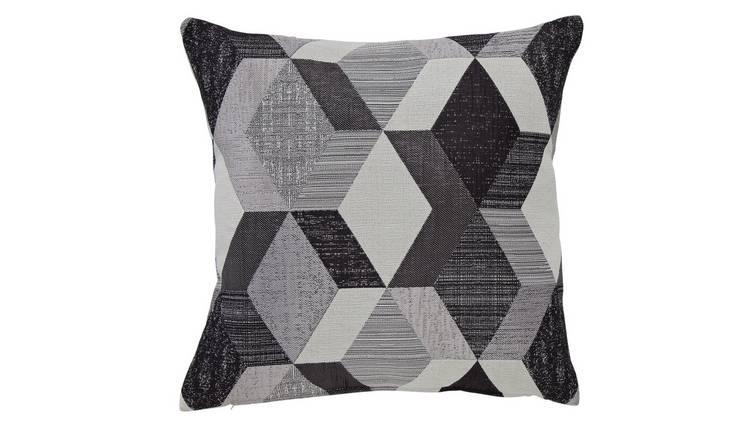Argos Home Geometric Cushion - Monochrome