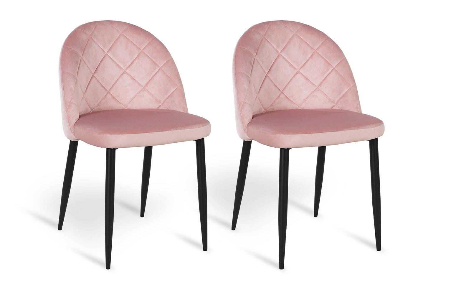 Argos Home Imogen Pair of Velvet Dining Chairs - Blush