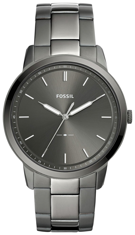 Fossil Minimalist Mens Smoke Stainless Steel Watch